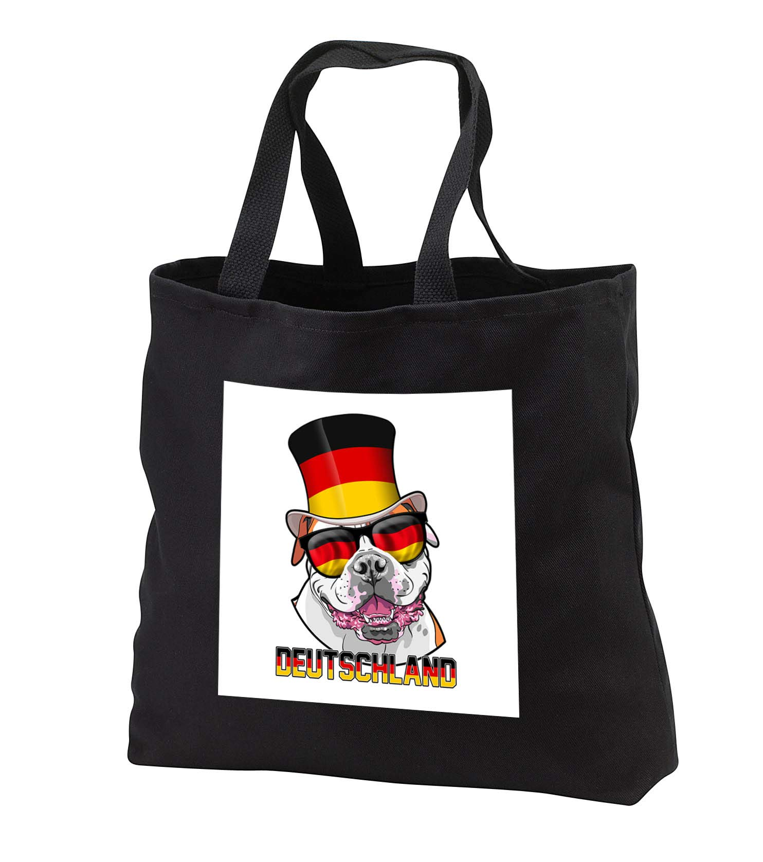 Carsten Reisinger - Illustrations - Germany American Bulldog with German Flag Top Hat and Sunglasses - Tote Bags - Black Tote Bag JUMBO 20w x 15h x 5d (tb_293422_3)