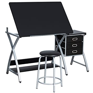 Groovy Yaheetech Adjustable Folding Drafting Drawing Draft Art Craft Table Desk With Stool And Storage Drawers Art Studio Design Craft Station Onthecornerstone Fun Painted Chair Ideas Images Onthecornerstoneorg