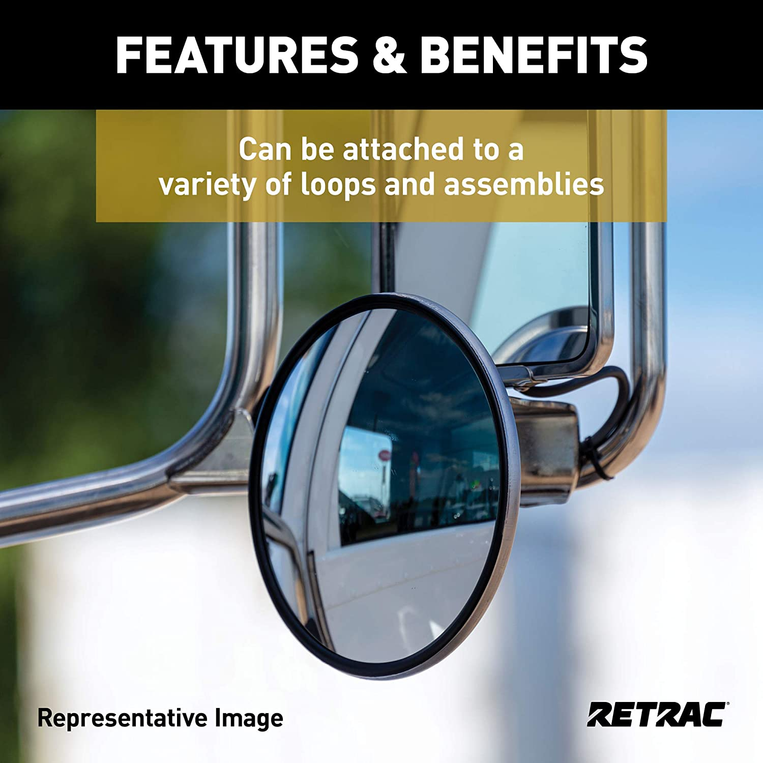 Universal Driver or Passenger Side RETRAC 610676 8-Inch Stainless Steel Center-Mount Heated Convex Mirror Head
