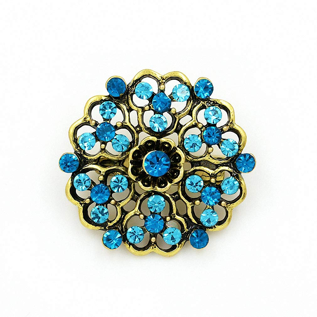 Jana Winkle Vintage Gold ColPlated Crystal Rhinestones Flower Antique Brooch Pins Women in Assorted 635