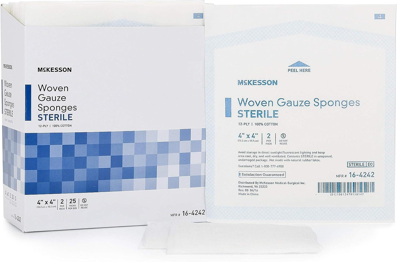 Esponja de gasa medi-pak rendimiento algodón gasa, 12 capas 4 x 4 ...