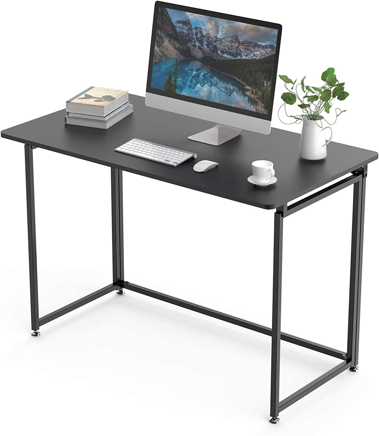 DESIGNA Folding Computer Desk, 43 inch Student Desk Folding, Writing Desk for Home Office, Fold Up Gaming Desk Wood Small Office Table for Teen Working & Crafting, Black