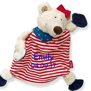 e6830a5021 Sigikid Schmusetuch Eisbär Mädchen mit Namen bestickt Baby Geschenk zur  Geburt Schnuffeltuch