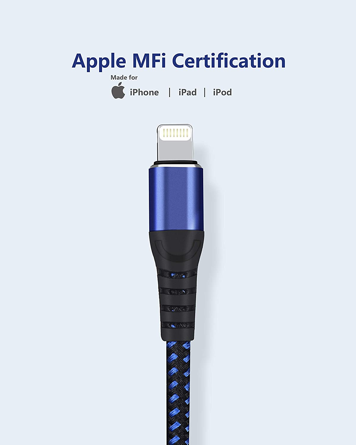 2pack iPhone Charger,MFi Certified 10Feet x 2 Lightning Cable MFi Fast Charging Cord Extra Long 10 Foot Charger Cable for iPhone 11//11 Pro // 11 Pro Max//XS//XS Max//XR//X // 8,iPad Pro More//Blue