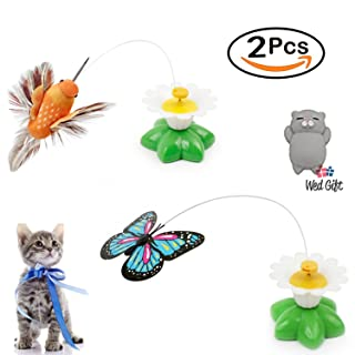 Qiekenao Butterfly, Bird Toy for Cats, Pet Cats Funny Rotating Electric Flying Butterfly and Bird Interactive Cat Toy for Kitten and Puppy, Set of 2