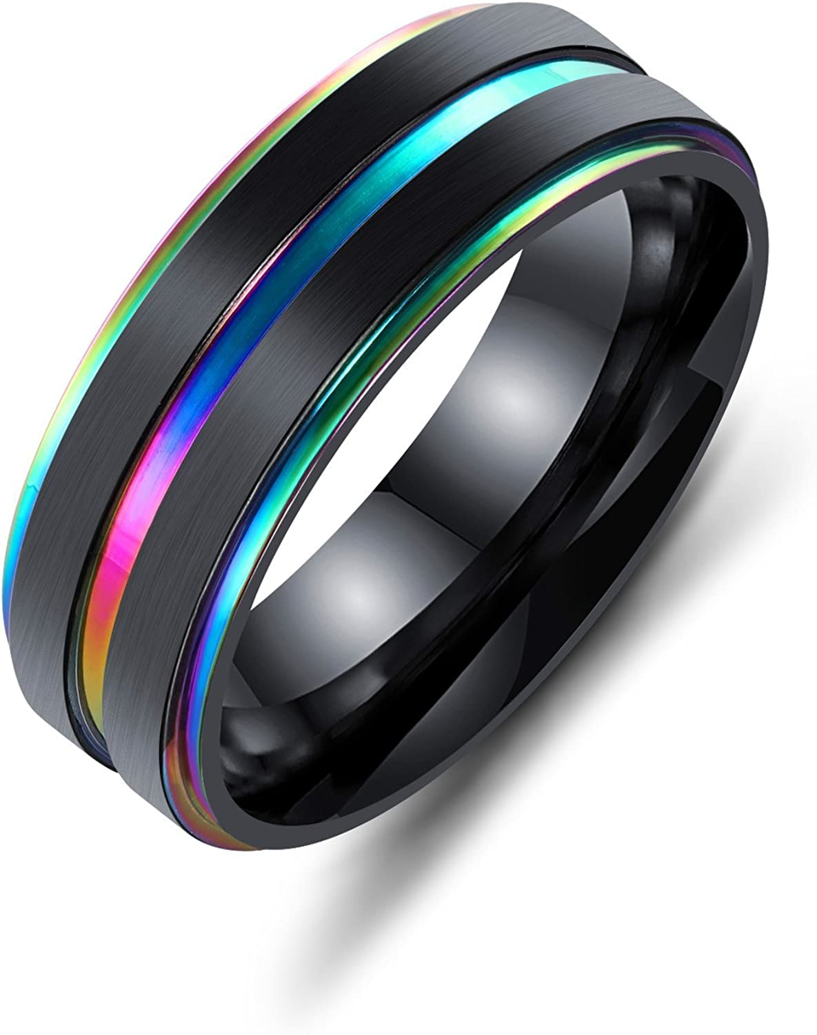 INSEA Classic Titanium Steel Wedding Engagement Band for Men Brushed Comfort Fit Size 6-11