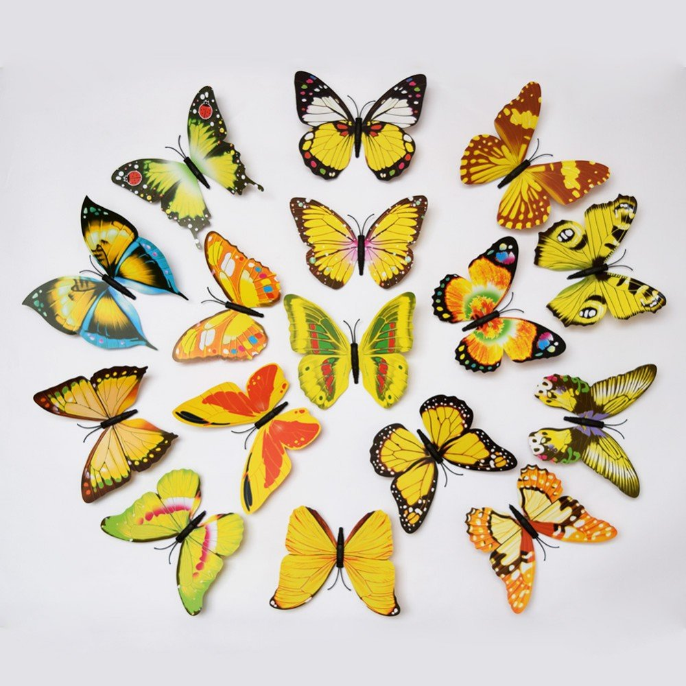 Buy Butterfly Wall Sticker - Set Of 12 Beautiful Removable PVC \