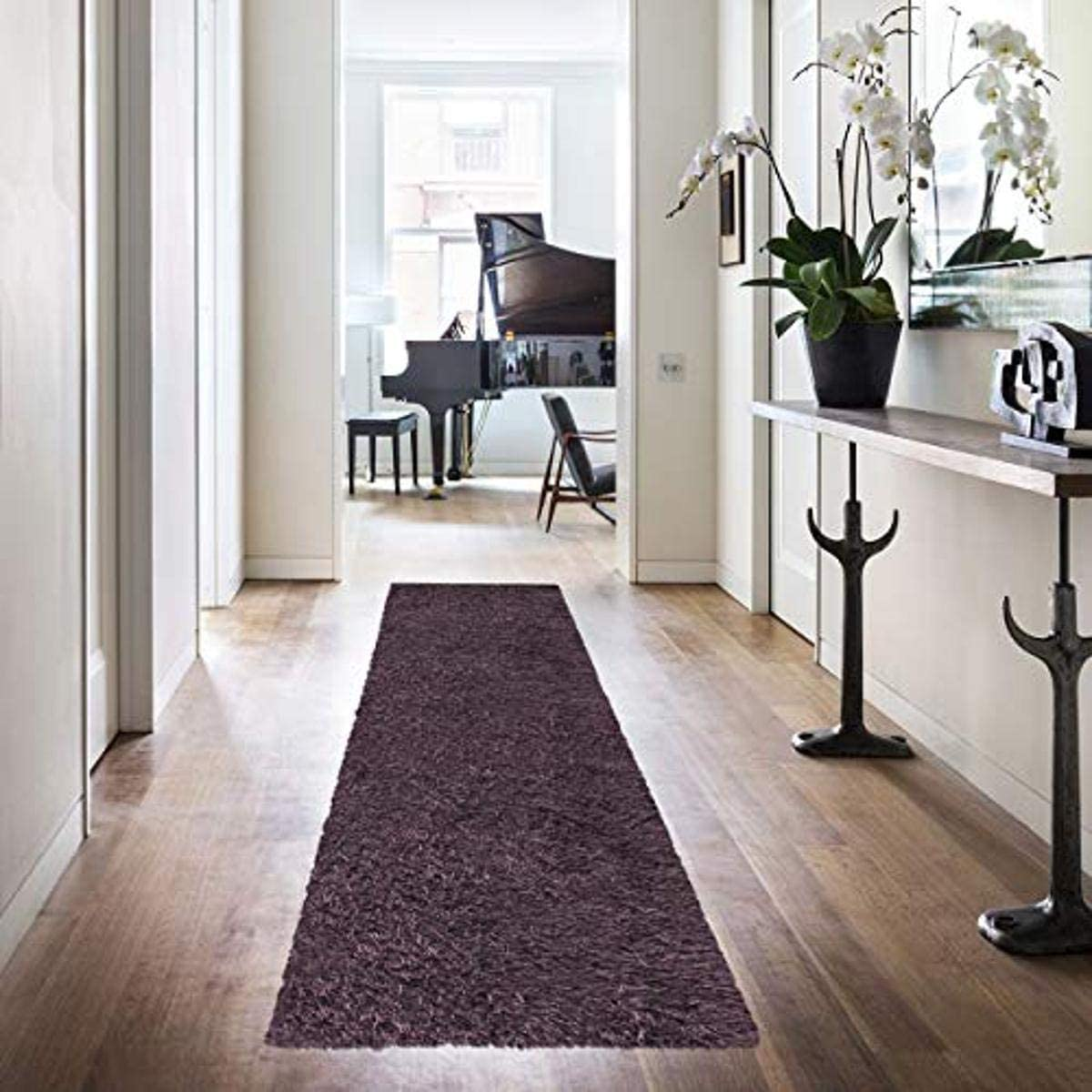 Superior Textured Shag Runner Rug, Purple, 2 7 x 8