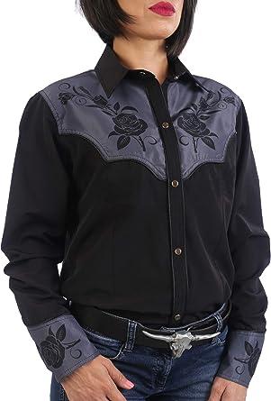 Last Rebels - Camisa Country Western Line Dance para mujer, diseño de flores, color negro: Amazon.es: Ropa y accesorios