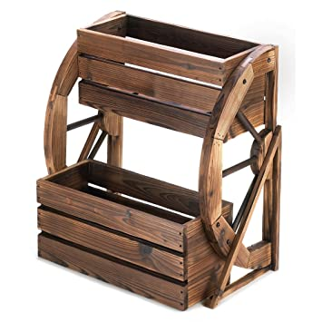 Amazon Com Wagon Wheel Double Tier Planter Box Garden Outdoor