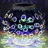 Color Changing Mosaic Solar Light, Pandawill Waterproof/ Weatherproof Crystal Glass Globe Ball light for for Garden, Patio, Party, Yard, Outdoor/ Indoor Decorations (Teardrop) …