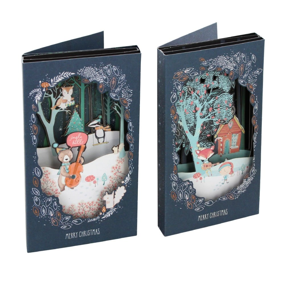 Woodland theatre Christmas Cards – Confezione da 6 Paperchase