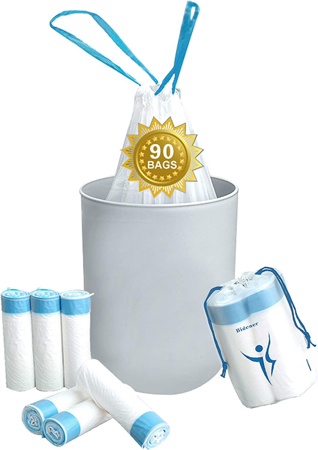 Bidener Small Trash Bags, 90 Count, 4 Gallon, White Color, Drawstring Small Trash Bags for Bathroom, Bedroom, Office, Car, Kitchen, Home, Unscented Clear Small Garbage Bags