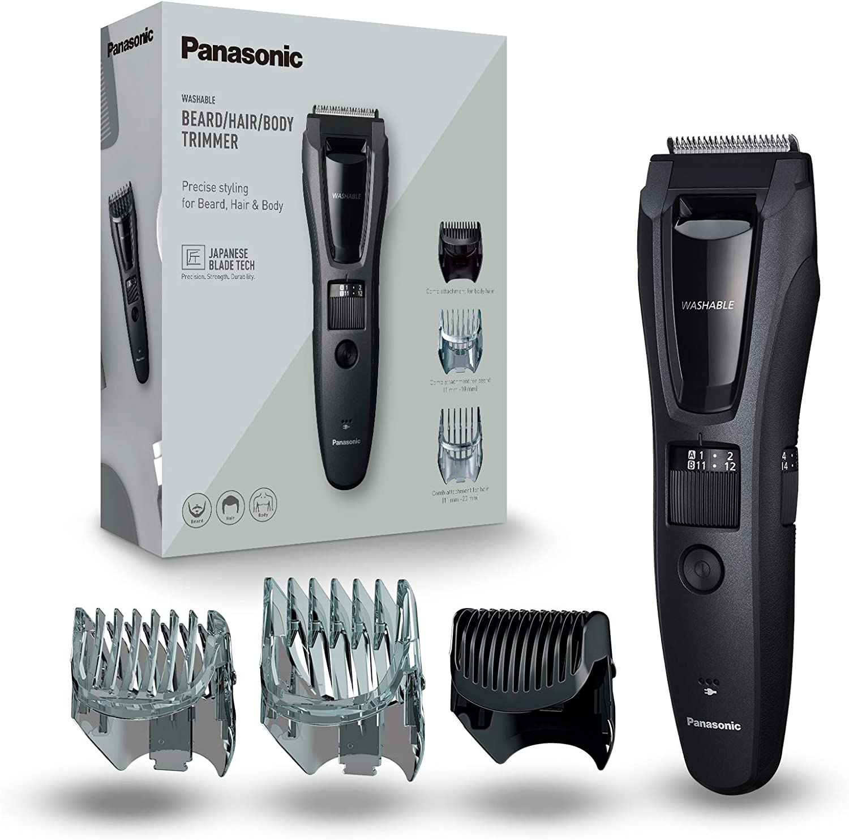 Panasonic ER-GB62-H503 - Recortadora Para Hombre Cuerpo, Barba Y Cabeza (3 En 1, Recargable, Acero Inoxidable, Batería Larga Duración, 39 Ajustes, 3 Accesorios Incluidos) negro
