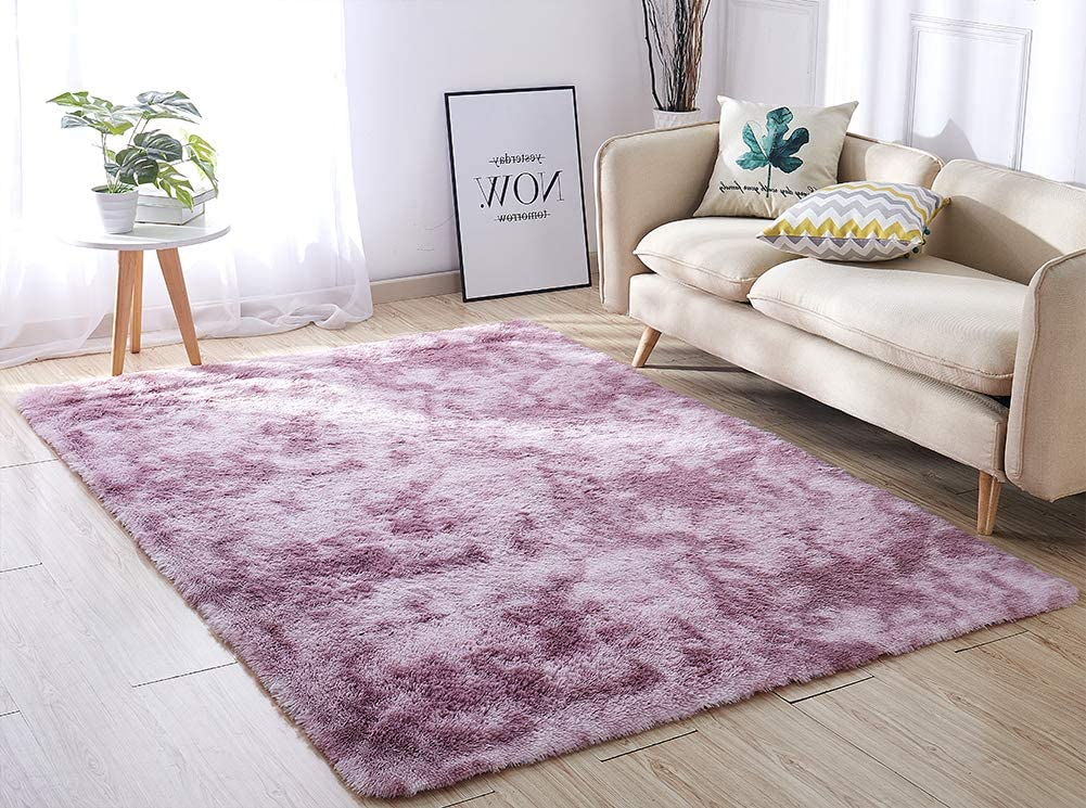 ACTCUT Super Soft Indoor Modern Shag Area Silky Smooth RugsFluffy Anti-Skid Shaggy Area Rug Dining Living Room Carpet Comfy Bedroom Floor 4- Feet by 5- Feet (Purple&)
