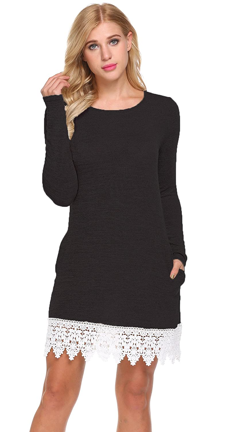 01black POGTMM Women's Casual Long Sleeve Aline Shift T Shirt Dress Lace Hem Knitted Sweater Dress