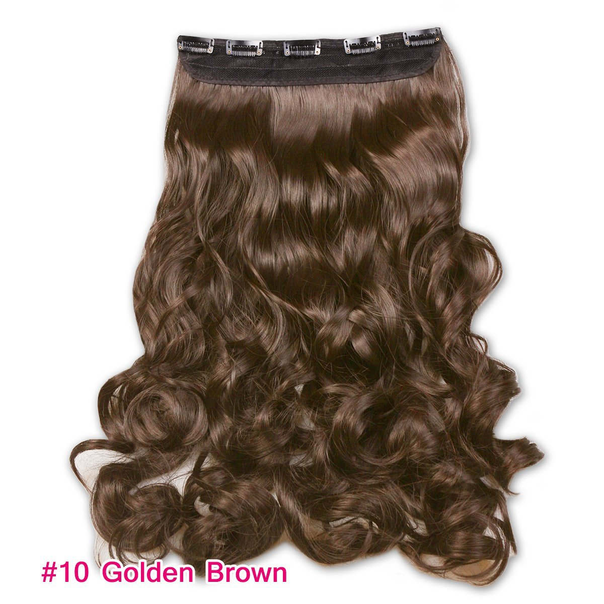 """Risinggirl® 22"""" 1-pack Full Head Curly Wave Clips in Synthetic Hair Extensions Hair pieces for Women 5 Clips 4.9 Oz Per Piece #10 Golden Brown"""