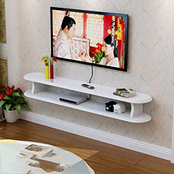 LTJTVFXQ-shelf Mediterrane TV-Schrank Kleine Größe Mini Wandhalterung Wohnzimmer Wandbehang Rack Hängen TV-Schrank Aufbewahren & Ordnen Farbe : Weiß, größe : 100cm Aufbewahren & Ordnen