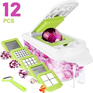 Sedhoom 12-in-1 Vegetable Chopper Onion Chopper with Large Container Multi Food Chopper Vegetable Cheese Fruit Chopper Dicer Cutter Series …