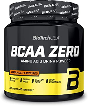 BioTechUSA BCAA Zero Bebida en polvo de aminoácidos aromatizada sin azúcar, con L-leucina, L-isoleucina y vitamina B6, 360 g, Naranja