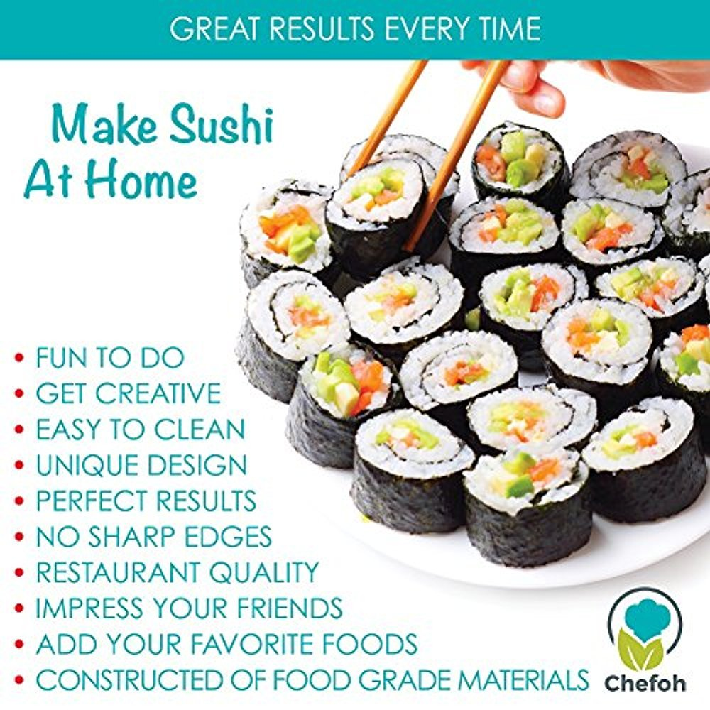 All-In-One Sushi Making Kit   Sushi Bazooka, Sushi Mat & Bamboo Chopsticks Set   DIY Rice Roller Machine   Very Easy To Use   Food Grade Plastic Parts Only   Must-Have Kitchen Appliance by Chefoh (Image #6)