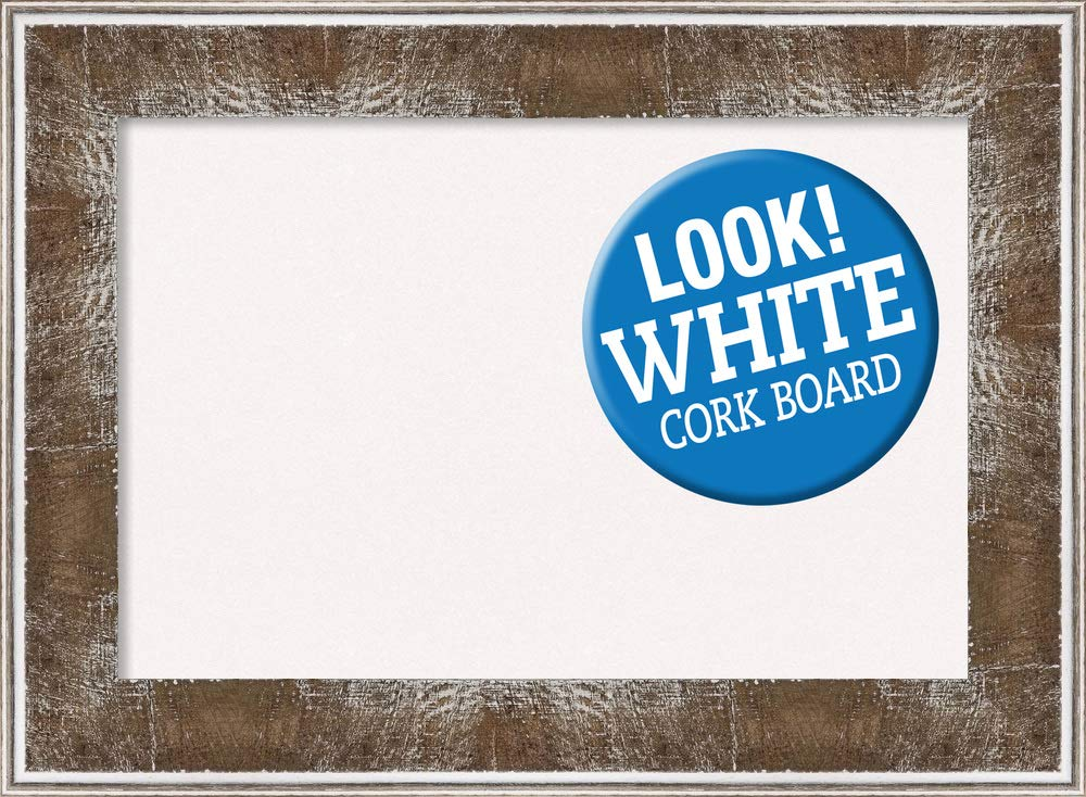 Amanti Art White Cork Farmhouse Brown Framed Bulletin Boards