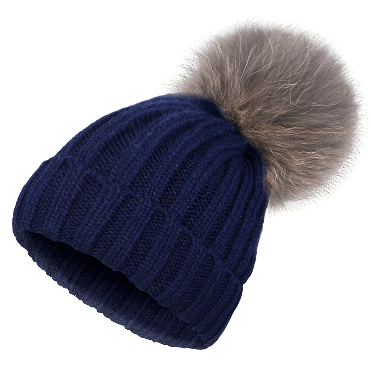 EVRFELAN Winter Hand Faux Fur Hat Pompoms Beanie Cable Knit Warm Family Crochet Ski Skull Cap for Girls (mink dark blue)