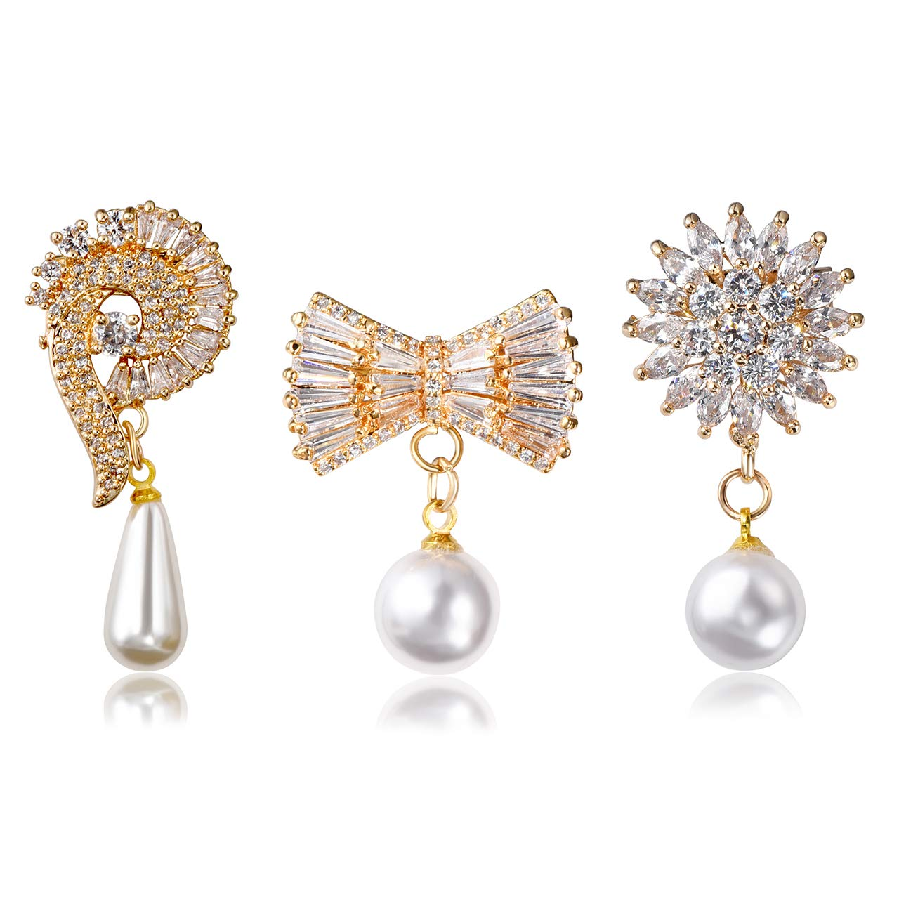 Jovivi 3pcs Clear Cubic Zirconia Crystal Flower Feather Butterfly Safety Pin Brooches Suit Sweater Scarves Scarf Brooch Charm