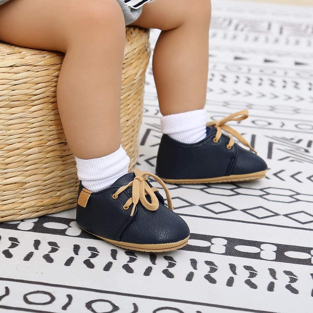 LACOIFA Baby Boys Sneakers Lace-up Oxford Shoes Infant Anti-Slip First Walking Shoes
