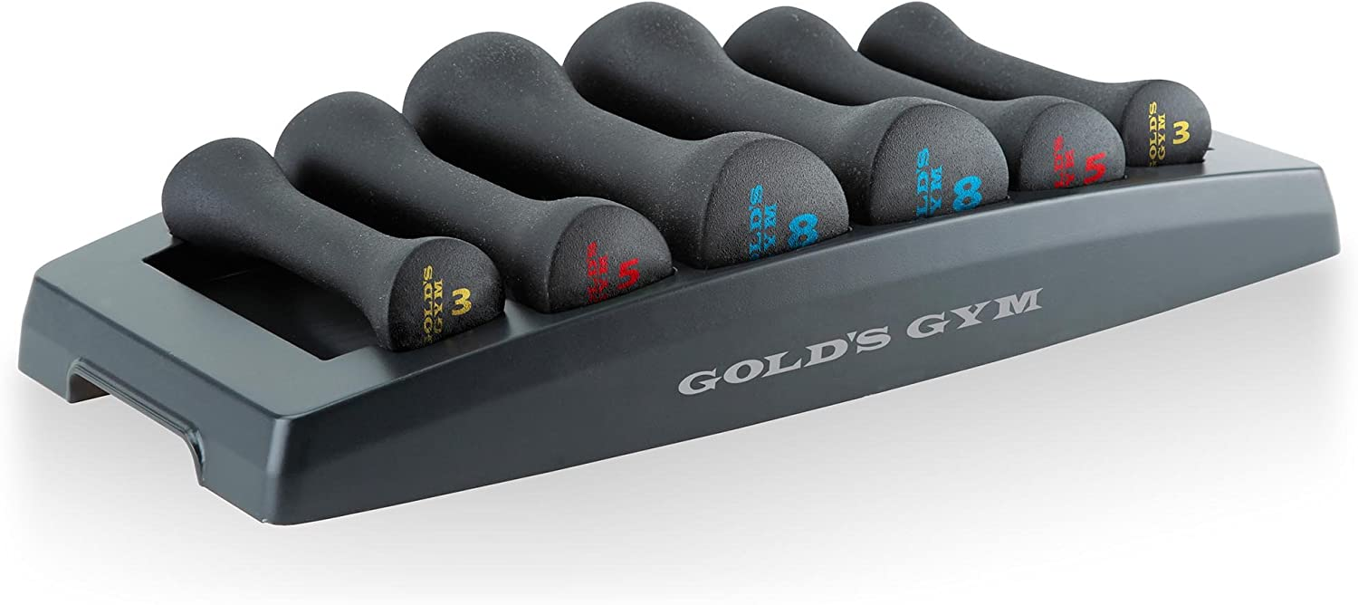 Gold s Gym Fitness Workout Hand Weights Exercise Dumbbell Set with Storage Tray