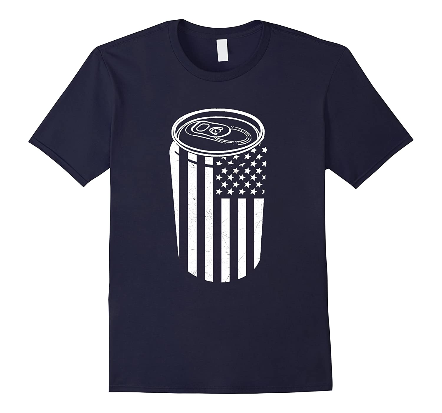 Beer Can American Flag Mens Fourth of July T-Shirt-PL