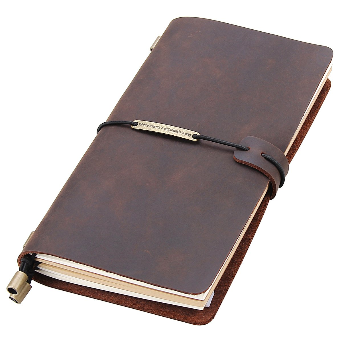 Leather Writing Journal Notebook Refillable, Handmade Traveler's Notebook for Men & Women, Perfect for Writing, Gifts, Travelers, Standard Size 8.5'' x 4.5'' Inches - Coffee
