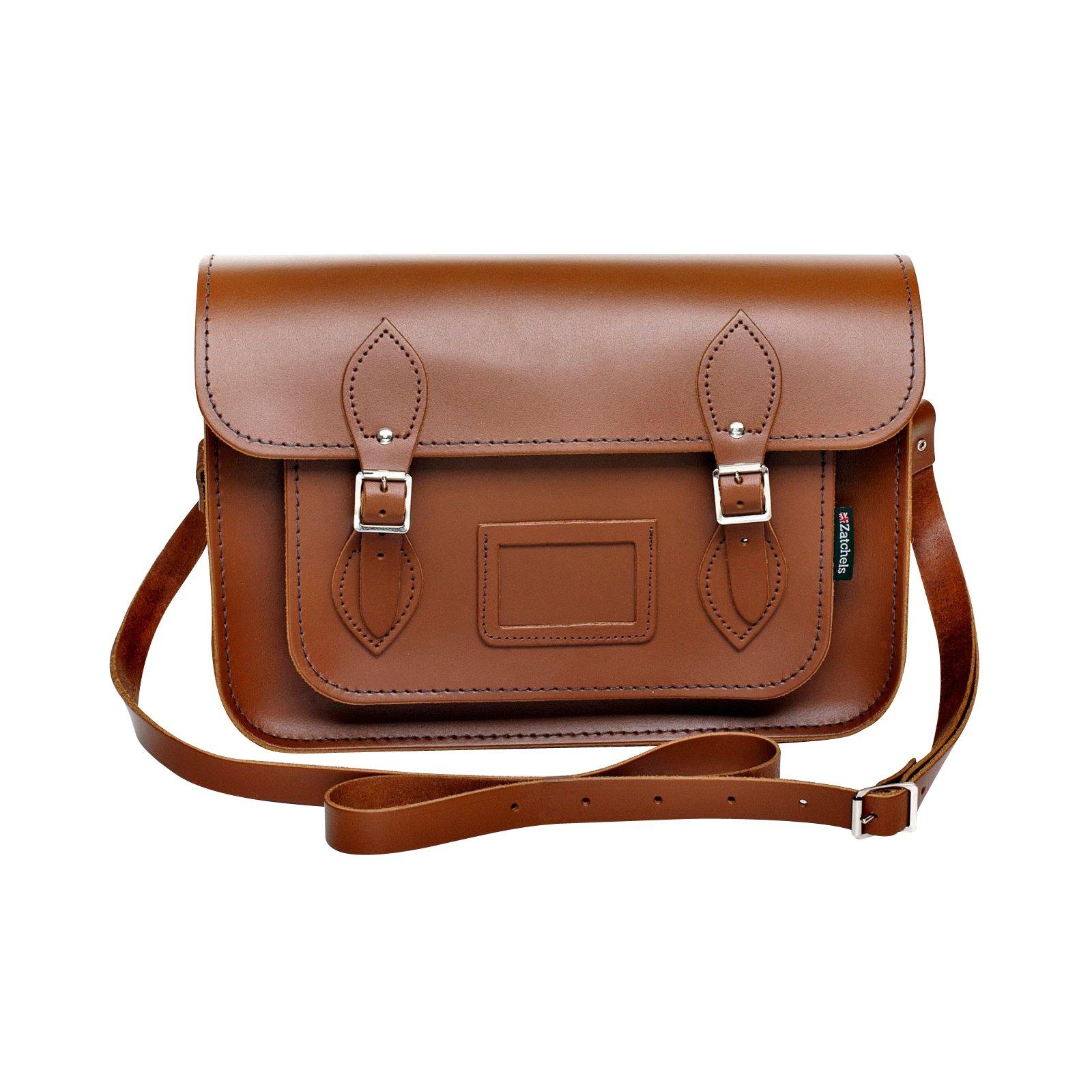 Zatchels Womens/Ladies Handcrafted Leather Satchel Bag (British Made) (13in) (Chestnut)