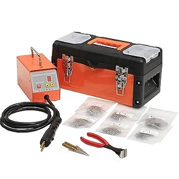 Máquina de Soldadura de Reparación de Plástico para Parachoques de Reparación de Plástico Hot stapler Tool Gun Kit con Caja de Almacenaje de 600 Grapas y ...