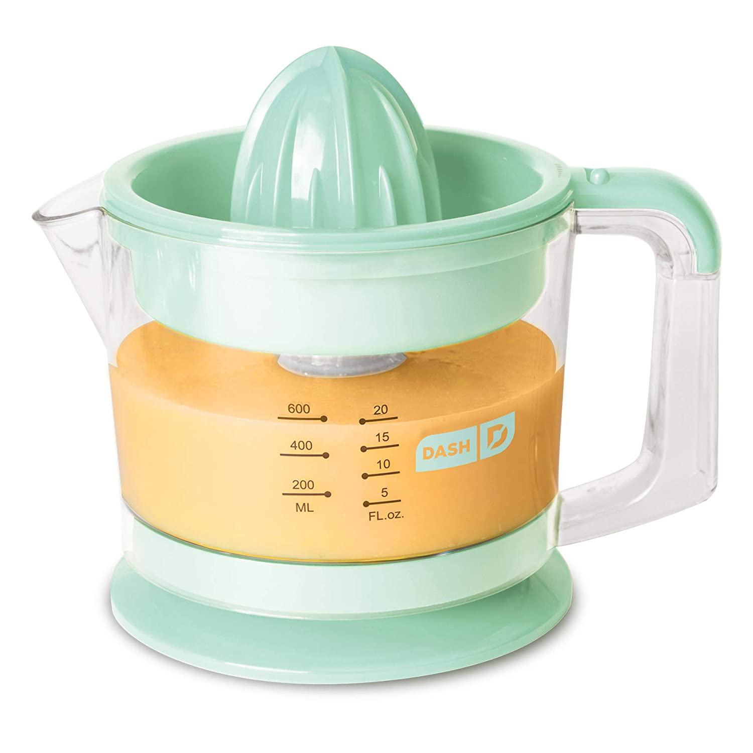 Dash Citrus Juicer Extractor - Easy Pour Spout + 32 oz Pitcher - Aqua