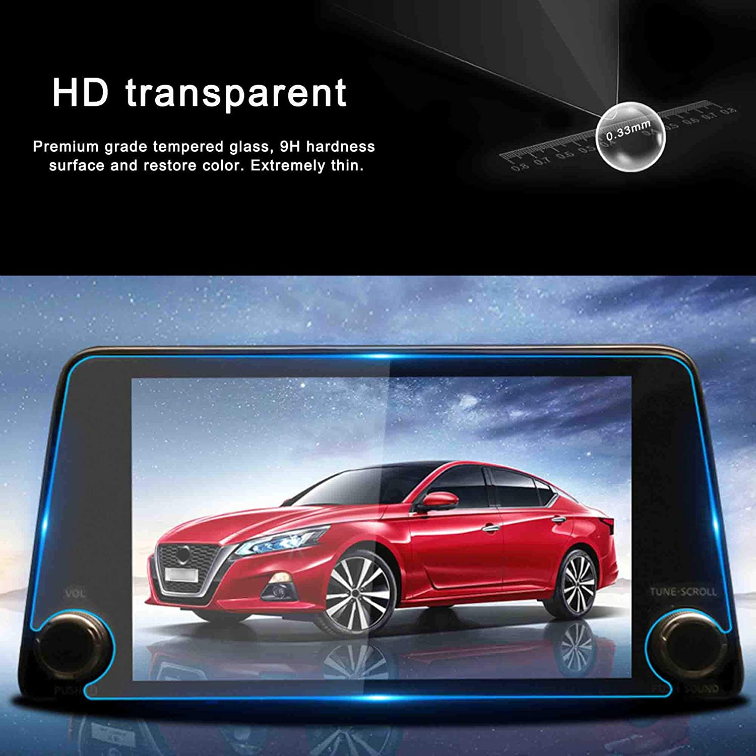 WINKA Car Navigation Screen Protector HD Clear Tempered Glass for 2019 Nissan Teana Against Scratch 1PCS