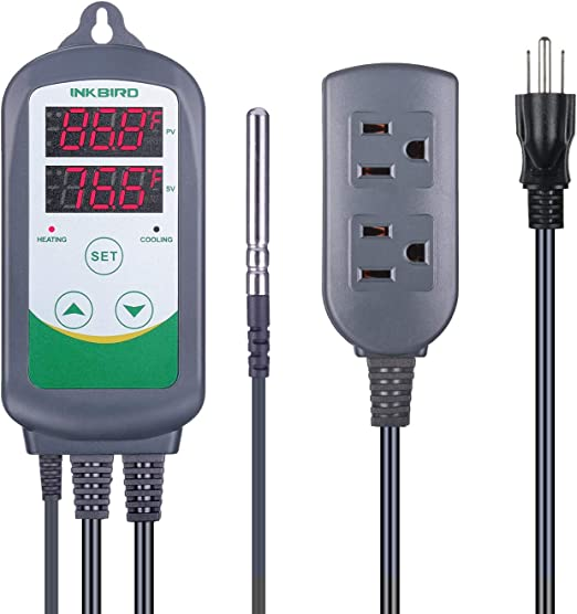 Digital Temperature Controller Outlet Thermostat 2-Stage 1100w w Sensor