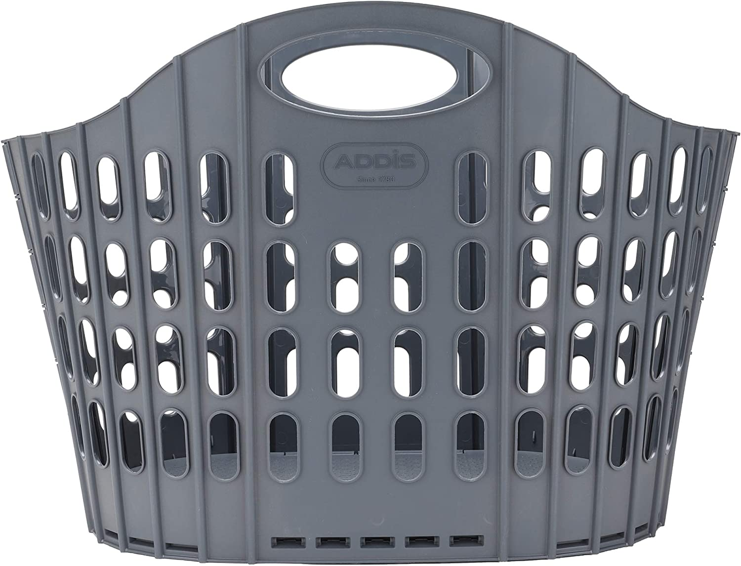 Mind Reader Collapsible Laundry 38 Liter/10 Gallon, Ventilated Plastic Hamper, Compact Clothes Basket, 38 L, Gray