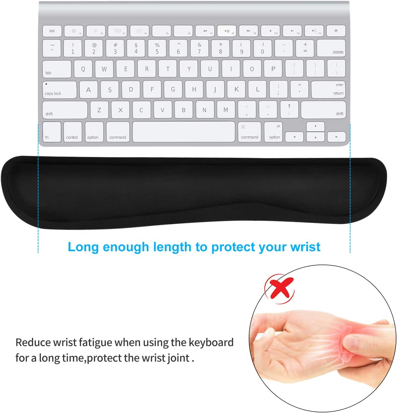 Computer and Home Memory Foam Keyboard and Mouse Wrist Rest Support for Easy Typing/&Pain Relief Lightweight Wrist Cushion Fit for Office