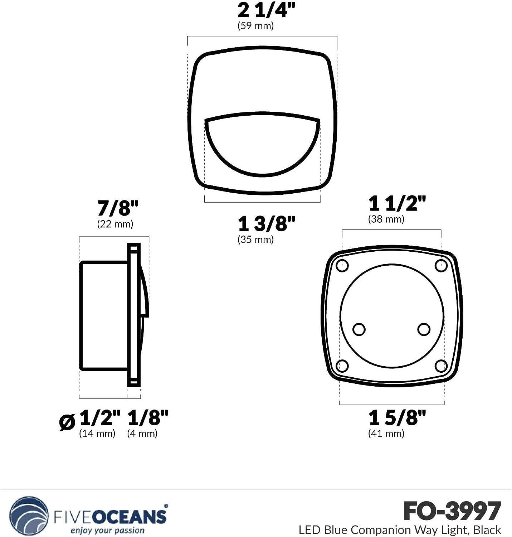 Five Oceans LED Cool White Companion Way Light Black Housing