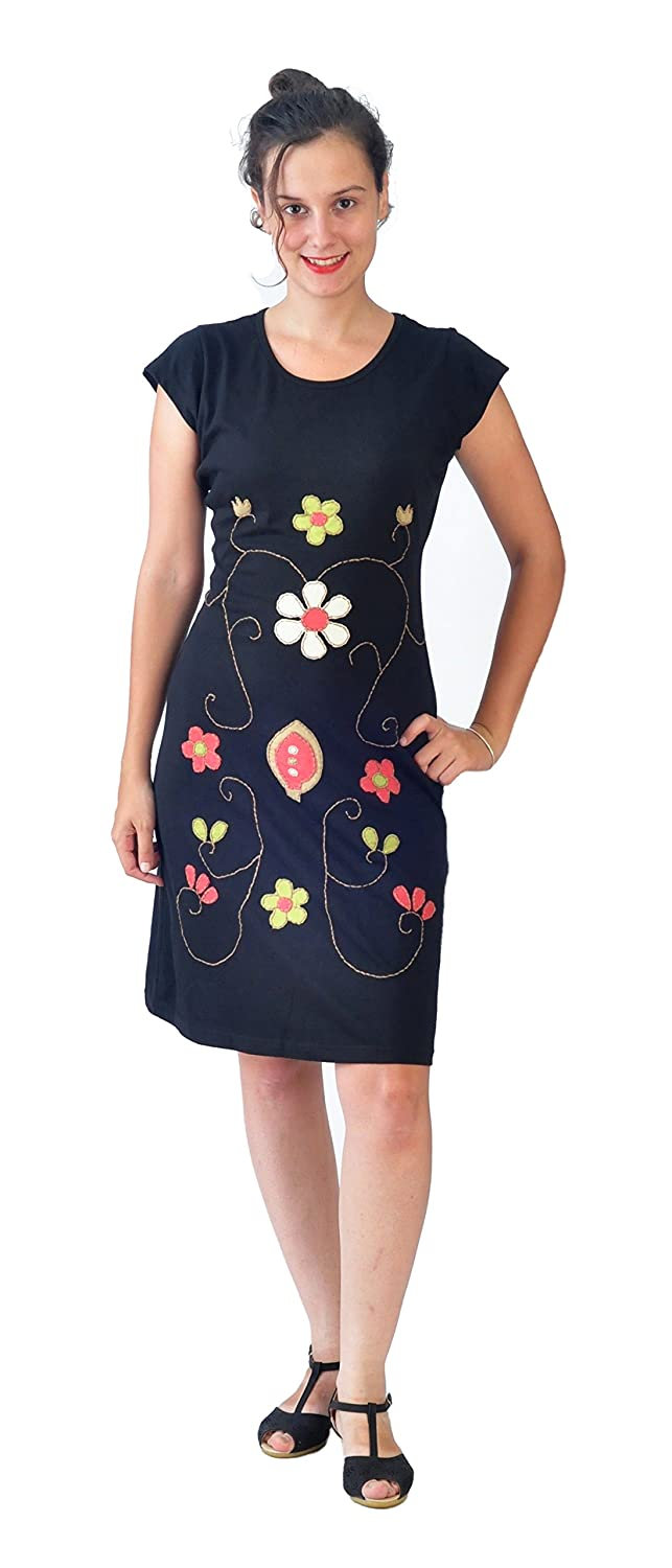 Tattopani Womens Short Sleeved Cotton Dress with Multicolored Flower Embroidery at Amazon Womens Clothing store: