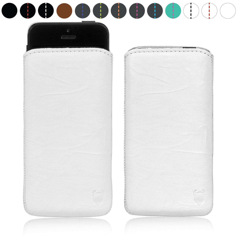 MediaDevil Apple iPhone SE/5S/5 Funda de Cuero Auténtico (Blanco con costura Blanca) - Funda Artesanal de Cuero Europeo - Artisanpouch