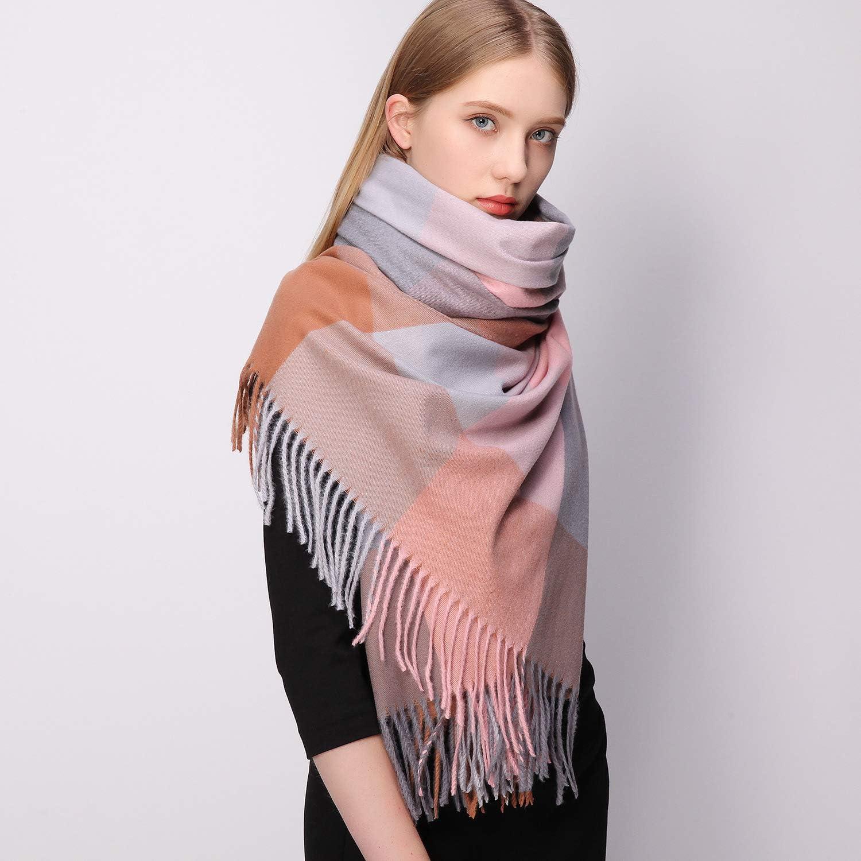 RIIQIICHY Sciarpa in cashmere a quadri per donna Sciarpe e scialli di pashmina invernali spessi caldi