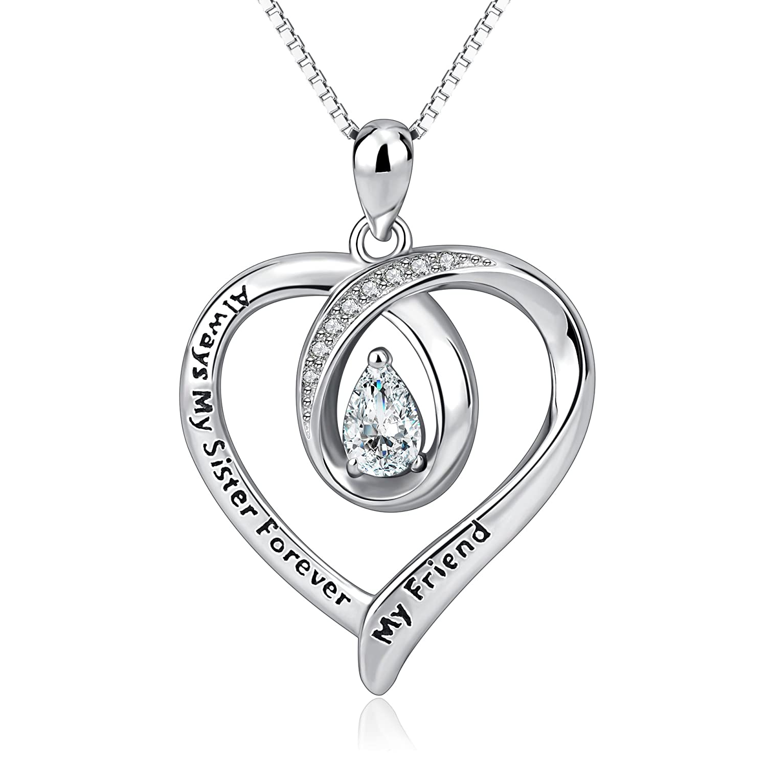 AOBOCO Sisters Necklace Sterling Silver Always My Sister Forever My Friend Love Heart Pendant Necklace Women Jewelry Birthday Gift for Friends