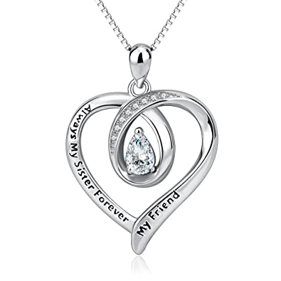 Amazon sisters necklace sterling silver always my sister sisters necklace sterling silver always my sister forever my friend love heart pendant necklace women jewelry aloadofball Choice Image