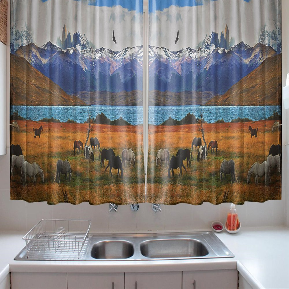 oFloral Kitchen Curtains Scenery Animal Farm with Horses Multicolor Window Treatments for Kitchen Dining Room Curtains 2 Panels Set 55 W X 39 L Inches