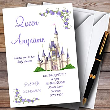 Purple Princess Castle Invitations Baby Shower
