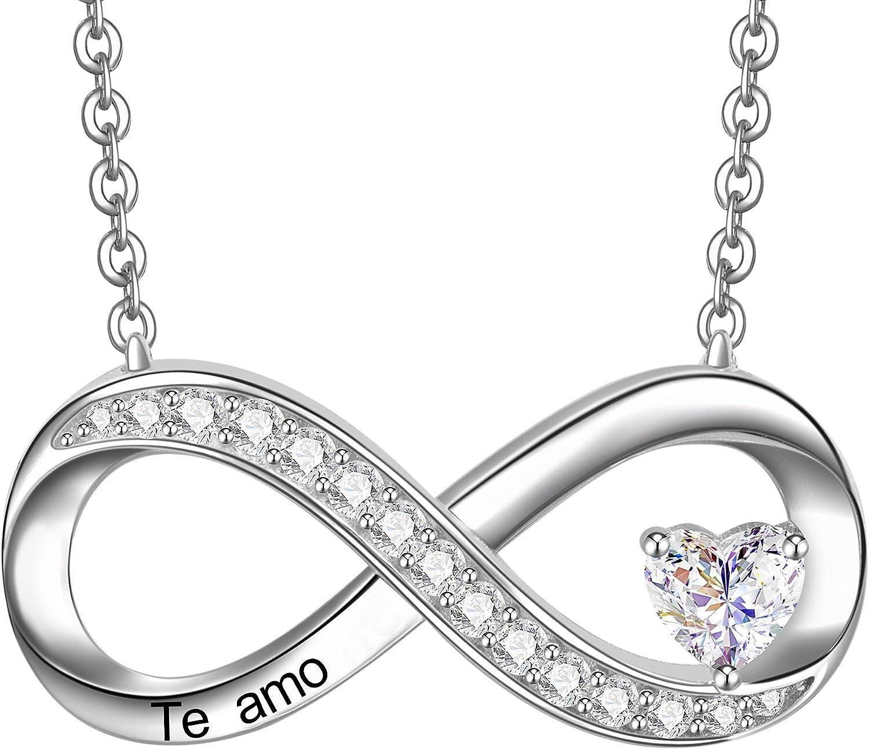 ENGSWA Collar Mujer Plata de Ley 925 Colgante Infinito con Corazón Grabado Te Amo Regalo para Mamá Hija Niña Esposa Novia