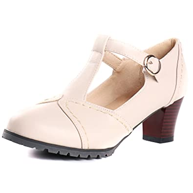 2f13d1392776 Maziao Women s Mary Jane High Heel Ankle Strap Pumps