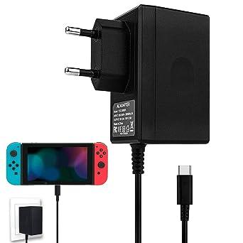 Cargador de interruptor de Nintendo, adaptador de CA para cargador rápido de interruptor de Nintendo Adaptador de corriente de CC 15V/2.6A con cable ...